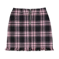 Pink Check Zipped Mini Skirt ($88) ❤ liked on Polyvore featuring skirts, mini skirts, zip skirt, checkered skirt, mini skirt, zipper mini skirt and short skirts