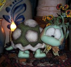 Primitive Turtle Tortoise Fuzzy Doll w Shell Vtg Patti's Ratties Bear Ornie OOAK