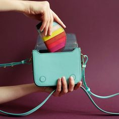 Our small Finsbury is reimagined in smooth Aqua leather for Resort Keep your accessories colourful by tucking a Rainbow Coin Purse inside. Sophie Hulme, Saddle Bags, Coin Purse, Aqua, Photo And Video, Leather, Smooth, Rainbow, Color