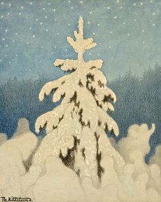 """la-belle-epoche: """" Theodor Kittelsen (Norwegian, Juletre (Christmas Tree), n. Pencil, pastel and aquarelle on paper, cm Private collection """" I Love Winter, Winter Wonder, Winter Art, Winter Illustration, Christmas Illustration, Illustration Art, Christmas Tree Art, Christmas Scenes, Theodore Kittelsen"""