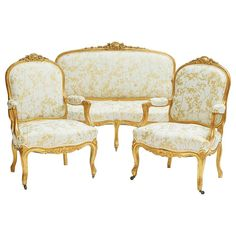 For Sale on - A French century Belle époque Louis XVI Style bergère giltwood carved three-piece salon or parlor set, comprising of a two-corps settee and two Victorian Style Furniture, Rococo Furniture, Victorian Sofa, Georgian Furniture, French Furniture, Living Furniture, Furniture Sets, Wedding Furniture, Retro Furniture