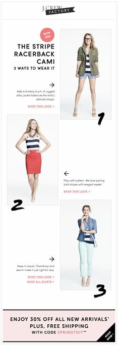 j crew factory email of striped cami, 3 ways