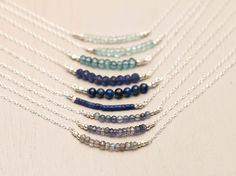 Gemstone Bar Necklaces Sterling Silver Delicate by LayeredAndLong