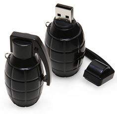 USB Grenade Flash Drive  Pull the plug and play        For your most explosive data      Looks just like a tiny black grenade      Pull the plug, then plug and play