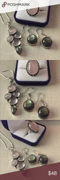 """Gorgeous pink Quartz and labradorite set Beautiful design artisan handcrafted pink Quartz pendant 2""""1/4 long stamped 925 pls see pictures silver inlay with labradorite stones earrings are also stamped 925 silver only approximately 1""""1/4 long ring is size 8 stamped beautifully deign pink Quartz Nwot Jewelry Necklaces"""