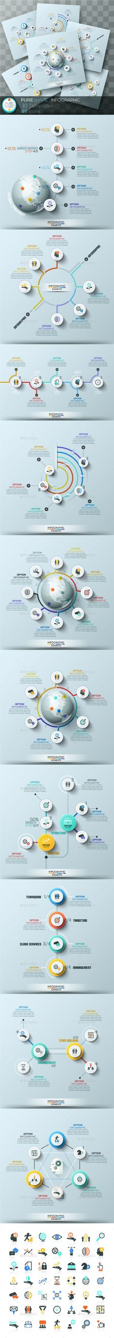 Pure Shape Infographic Templates PSD, Vector EPS, AI. Set 3. Download here: http://graphicriver.net/item/pure-shape-infographic-set-3/15907679?ref=ksioks