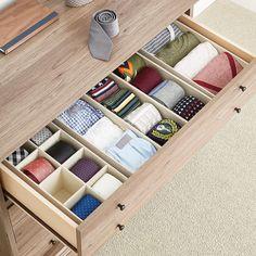 Ideas Closet Drawers Container Store For 2019 Office Drawer Organization, Closet Organizer With Drawers, Closet Drawers, Drawer Dividers, Drawer Organisers, Desk With Drawers, Closet Storage, Dresser Drawers, Underwear Organization