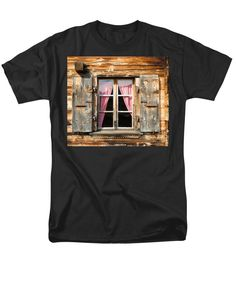 Purchase an adult t-shirt featuring the image of Beautiful Window Wooden Facade Of A Chalet In Switzerland by Matthias Hauser.  Available in sizes S - 4XL.  Each t-shirt is printed on-demand, ships within 1 - 2 business days, and comes with a 30-day money-back guarantee. Also availabe in a women and youth version and in other colors. Matthias Hauser hauserfoto.com
