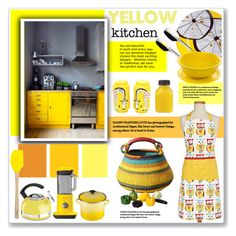 """summer yello kitchen"" by nanawidia ❤ liked on Polyvore featuring interior, interiors, interior design, home, home decor, interior decorating, Michael Aram, Kenwood, Villeroy & Boch and Tovolo"