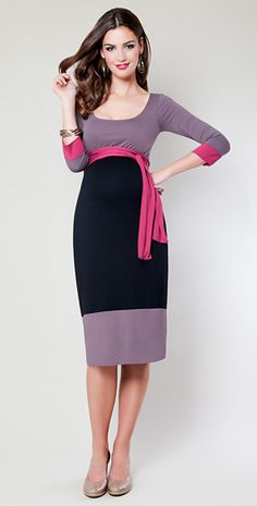 Colour Block Maternity Dress (Truffle) by Tiffany Rose