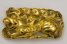 Belt Buckle depicting a recumbent deer, Kazakhstan, 5th – 4th century BC, high-relief gold