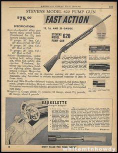 1955 STEVENS 620 Pump Shotgun PRINT AD : Other Collectibles at GunBroker.com