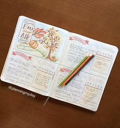 Bullet journal - fall, autumn, automne Daily spread