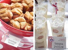 Sock monkey party food! Monkey bread and banana pudding. Printables from Chickabug.com : )