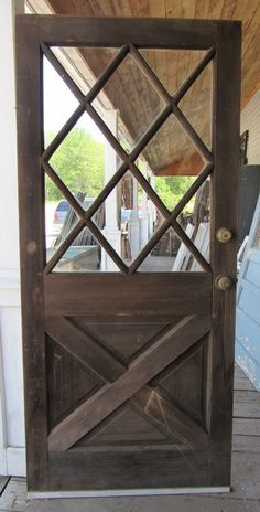 Vtg Solid Wood Dutch Door Crossbuck Diamond Glass Shabby