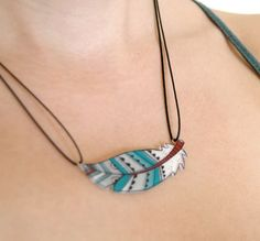 Necklace  Feather by lacravatteduchien on Etsy, €15.00 …