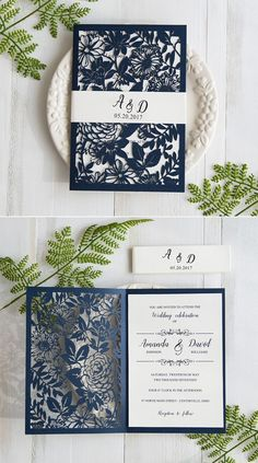 navy blue laser cut wedding invitations with belly band