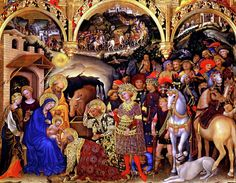Adoration of the Kings Painting - Gentile da Fabriano. Uffizi Gallery in Florence, Italy,