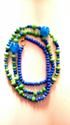 Mediterranean green / blue long necklace/gift by KaterinakiJewelry Beaded Necklace, Beaded Bracelets, Summer Necklace, Blue Green, Glass Beads, Gifts For Her, Etsy Shop, Gold, Free Shipping