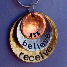 """Keep the Law of Attraction close to your heart with this """"Ask, Believe, Receive"""" necklace from Dream Acre Designs. #law_of_attraction #hand_stamped_jewelry"""