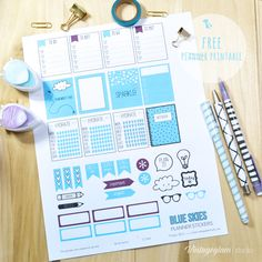 Blue Skies Planner Stickers - Free Printable Download