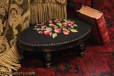 Oval Needlepoint Berries Footstool - Harp Gallery Antique Furniture