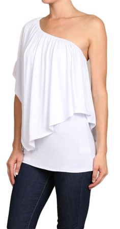 """This amazing top can be worn THREE ways. On both shoulders, off both shoulders or off one shoulder. The neckline has an elastic which means it won't slip down as you wear it. The layer on top is flattering and has the added bonus of covering the mid section.  •Long top can be worn three ways •Over layer """"shawl"""" built in •Longer length covers bum •Soft Jersey Fabric 95% Rayon, 5% Spandex •Made in the USA"""