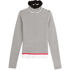MSGM Striped Cotton Turtleneck Pullover ($280) ❤ liked on Polyvore featuring tops, sweaters, stripes, stripe sweaters, striped sweater, cotton pullovers, turtleneck sweater and blue sweater