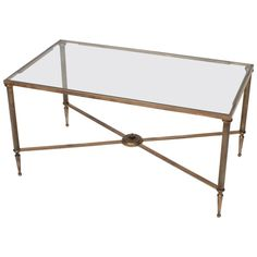 Neoclassic Style Brass And Glass Coffee Table X Stretcher France Circa 1950