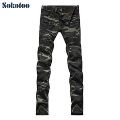 >> Click to Buy << Sokotoo Men's fashion camouflage military style army green biker jeans Male casual patchwork skinny denim pants Long trousers #Affiliate
