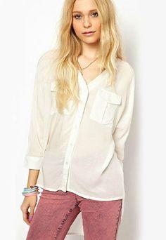 Asym Hem Chest Pockets Criss Cross Strap White Shirt Blouse