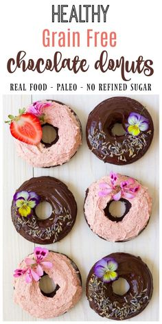 (Ad) There's nothing more fun than healthy, Grain Free Chocolate Donuts for breakfast! These delicious, soft and chocolaty real food donuts are baked to perfection and made with wholesome ingredients. They're Paleo friendly, nut free and have no coconut flour too! // Recipes to Nourish // Paleo Donuts | Grain Free Donuts | Cassava Flour Donuts | Paleo Recipes | Healthy Donuts // via @recipes2nourish