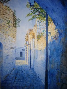 Raphael Abend (Israeli) view of street in Safed's old city, near Abuhav synagogue City Scapes, Enlarge Photos, Jewish Art, Old City, Watercolor Art, Oil On Canvas, Eye Candy, Art Ideas, Inspire