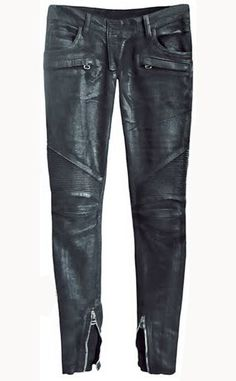 Com - Leather Biker Jeans - Style Biker Jeans, Jeans Pants, Trousers, Mens Leather Pants, Biker Leather, Vegan Leather, How To Wear Sneakers, Best Running Shoes, Shoes With Jeans