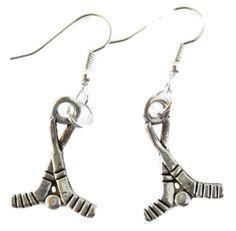 HOCKEY EARRINGS: Hockey Sticks with Puck Dangling Pierced Earring: Jewelry