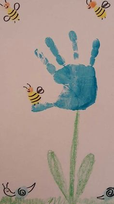 New Spring Art For Kids Flowers Hand Prints Ideas The Effective Pictures We Offer You About cute Spring Crafts For Kids A quality. Daycare Crafts, Baby Crafts, Easter Crafts, Fun Crafts, Kids Daycare, Santa Crafts, Easter Decor, Wood Crafts, Spring Crafts For Kids