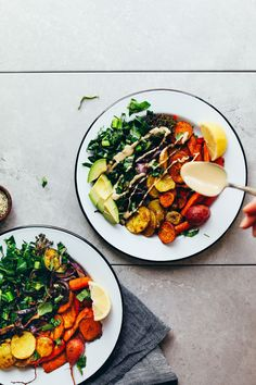 Healthy, easy, and delicious roasted vegetable bowl with tahini dressing and hemp seeds! The perfect 30-minute plant-based meal for any time of the day!