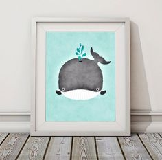 8x10 5x7 5x5 Baby Whale Watercolor Whale by ToobigshoesCreative