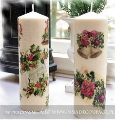 Best Candles, Diy Candles, Beautiful Candles, Christmas Candles, Christmas Decorations, Henna Candles, Christmas Decoupage, Candle Art, Homemade Candles