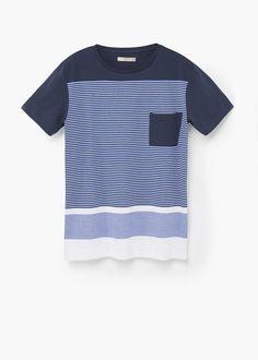 Striped cotton t-shirt | MANGO MAN
