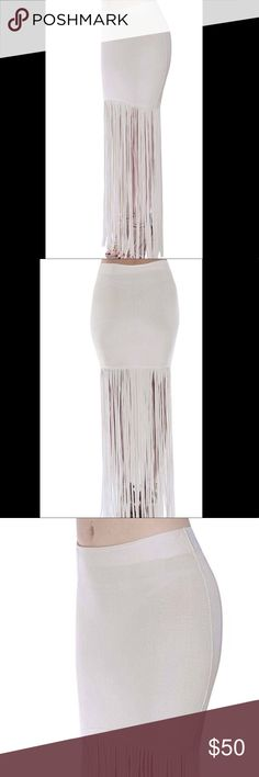 "Bandage Maxi Skirt Wow Couture Fringe White Wow Couture Fringe Skirt White Bandage Maxi   All measures are approximate  Small: Maxi Skirt: Waist 13"" Bodycon Skirt 18"" w Fringe 44""  Med: Maxi Skirt: Waist 13.5"" Bodycon Skirt 18.5"" w Fringe 44.5""  Lg: Maxi Skirt: Waist 14"" Bodycon Skirt 19"" w Fringe 45""  I also sell Angelica Val, Giuseppe Zanotti, Isabella Fiore, Christian Louboutin, Emilio Pucci, LulaRoe, Puma, Sergio Rossi, Swims, Ralph Lauren, Nike, Balenciaga, Louis Vuitton, Versace…"