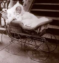 Modes of Victorian transportation, including this Wicker Baby Carriage