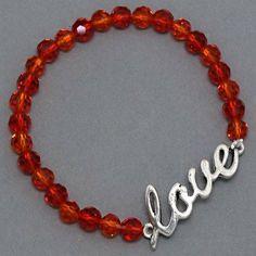"Amazon.com: Designer Inspired Stretch Red Beaded Bracelet with ""Love"" Charm.: Jewelry"