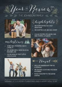 Mixbook Chalkboard Year in Review Holiday Photo Cards