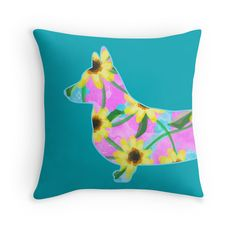 Corgi Watercolor Sunflowers Throw Pillow