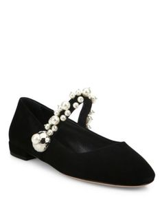 Miu Miu - Pearl Bead Strap Suede Mary Jane Flats Evening Flats, Beaded Trim, Pearl Beads, Miu Miu, Mary Janes, High Heels, Pearls, Clothes For Women, Boots
