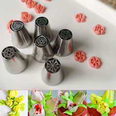6pcs/lot Stainless Steel Nozzle cream tulip petal decorators NozzlesCake Cookie design Russian Pastry Tips Nozzles Free shipping