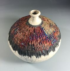Textured Raku Bottle by Nita Claise. www.NitaClaise.com