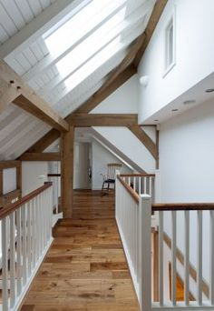 Barn House: White Walls with Oak Beams Hallway/Stairwell