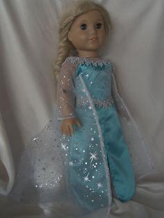 American Girl Doll Elsa Gown Ensemble in Aqua Blue by DMJDesigner